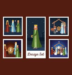 Designs set manger characters vector