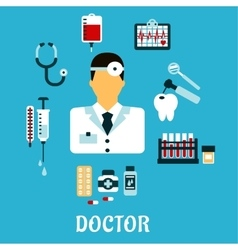 Doctor therapist with medical icons flat style vector