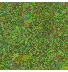 Doodle seamless background oriental green vector