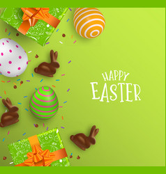 Easter card of 3d chocolate bunny and color eggs vector