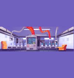 Factory conveyor belt with water bottles and robot vector