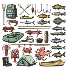 fishing sport equipment and fishes vector image
