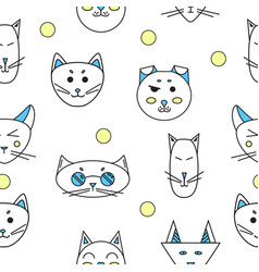 Funny cats seamless texture vector