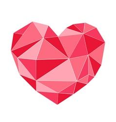 Geometrical red heart triangle shape vector
