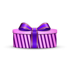 gift box 3d violet ribbon bow isolated white vector image