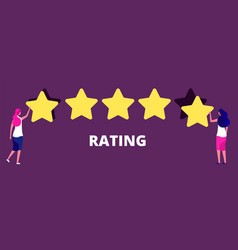 girls giving five star rank best work quality vector image