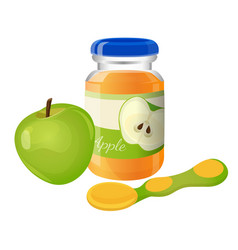 glass jar puree with spoon and green apple near vector image