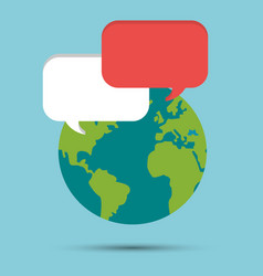 global earth world bubble speech message vector image