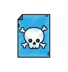 Grated danger skull bones alert inside paper vector