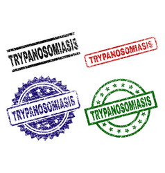 grunge textured trypanosomiasis seal stamps vector image