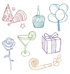 Hand drawn birthday icons vector image
