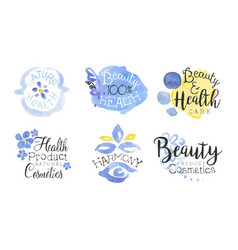 health product natural cosmetics lables set vector image