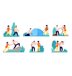 hiking characters people hike logging travel vector image