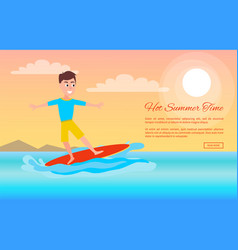 Hot summer time surfing sport activity web poster vector