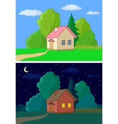 houses on forest edge vector image