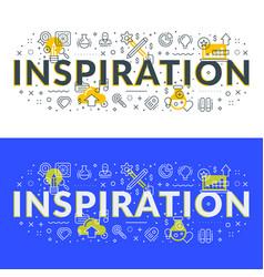 inspiration flat line concept for web banner vector image