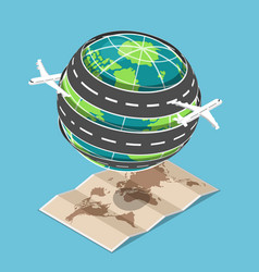 isometric plane and transportation road circled vector image