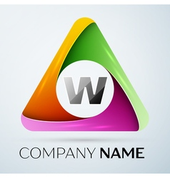 Letter W logo symbol in the colorful triangle vector