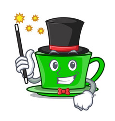 Magician green tea mascot cartoon vector
