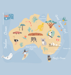 Map australia with landmarks and wildlife vector