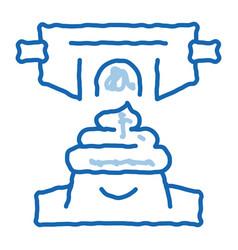 Meconium newborn feces doodle icon hand drawn vector