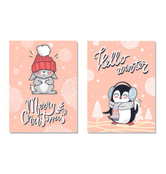 merry christmas greeting cards with penguin rabbit vector image