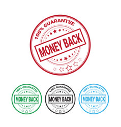 money back guarantee 100 percents label set vector image