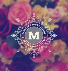 monogram logo on flowers background vector image