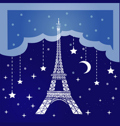 night paris vector image