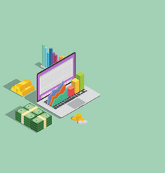 online business technology with laptop graph and vector image