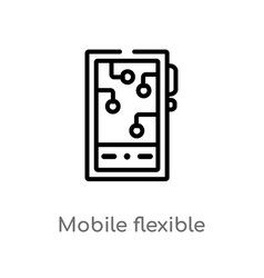 Outline mobile flexible display icon isolated vector