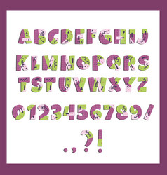 papercut colorful alphabet cute geometric vector image