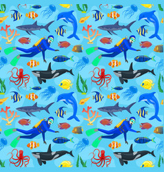 pattern with ocean animals and diver vector image