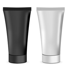 plastic or metal realistic 3d cream tubes black a vector image