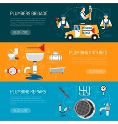 Plumbing Horizontal Banners Set vector image