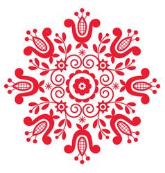 Polish folk art design mandala with flowers vector