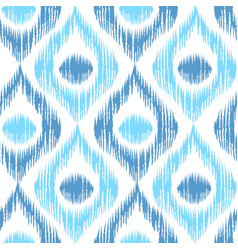 Retro ikat blue pattern vector
