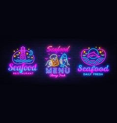 seafood neon signs set seafood menu neon vector image