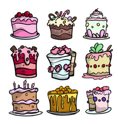 Set colorful creamy cakes for different festive vector