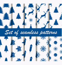 set of christmas seamless patterns with fir-trees vector image