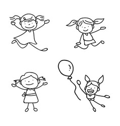 set of hand drawing abstract happy cute girls vector image