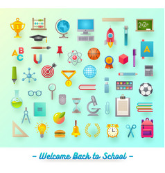 Set of school items object supplies and accessor vector
