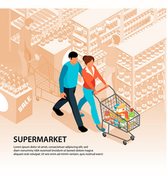 shopping in supermarket composition vector image
