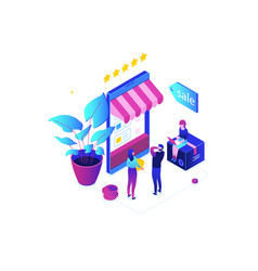 shopping online - modern colorful isometric vector image