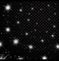 Silver stars black night sky on transparent vector