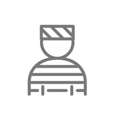 Simple prisoner bandit thug gangster line icon vector
