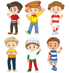 Six boys with happy face vector