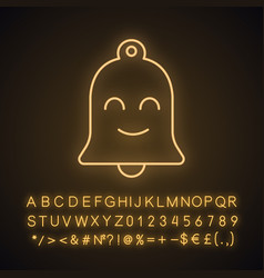 Smiling bell neon light icon vector