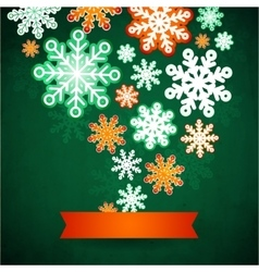 Snowflake winter green background christmas paper vector