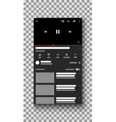 social media video player mobile phone ui vector image